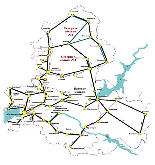 Схема волоконно-оптических линий связи Ростовской области.